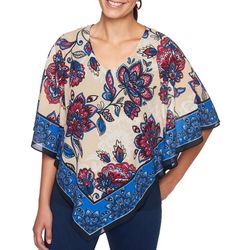 Ruby Road Favorites Petite Border Floral Poncho Top