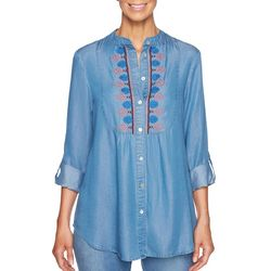 Ruby Road Favorites Petite Embroidered Button Down Top
