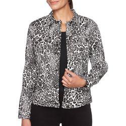 Ruby Road Favorites Petite Cheetah Print Jacquard Jacket