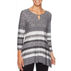 Ruby Road Favorites Petite Medallion Stripe Sharkbite Top