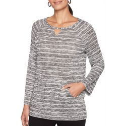 Ruby Road Favorites Petite Space Dye Stripe Print Sweater
