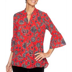 Ruby Road Favorites Petite Metallic Floral Bell Sleeve Top