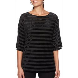Ruby Road Favorites Petite Velvet Stripe Metallic Top