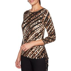 Ruby Road Favorites Petite Embellished Diagonal Safari Top