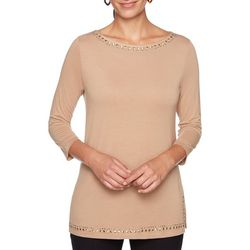 Ruby Road Favorites Petite Embellished Side Split Hem Top