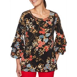 Ruby Road Favorites Petite Floral Ruffle Sleeve Top