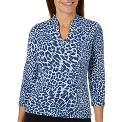 Ruby Road Favorites Petite Jeweled Leopard Funnel Neck Top