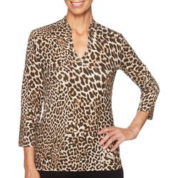 Ruby Road Favorites Petite Leopard Print Funnel Neck Top