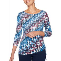 Ruby Road Favorites Petite Graphic Striped Ruched Top