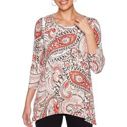 Ruby Road Favorites Petite Paisley Sharkbite Round Neck Top