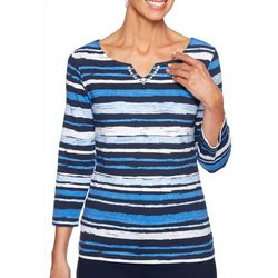 Ruby Road Favorites Petite Striped Jewel Neck Top