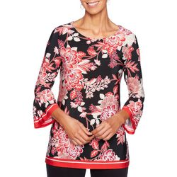 Ruby Road Favorites Petite Floral Print Bell Sleeve Top