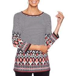 Ruby Road Favorites Petite Mix Media Stripe Print Top