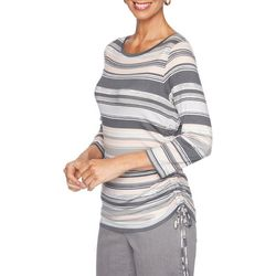 Ruby Road Favorites Petite Horizontal Striped Ruched Top