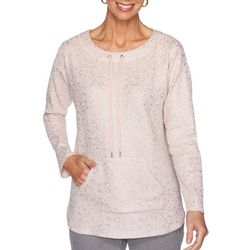 Ruby Road Favorites Petite Foil Embellished Long Sleeve Top