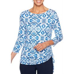 Ruby Road Favorites Petite Ruched Tile Print Top