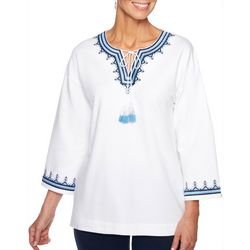 Ruby Road Favorites Petite Embroidered Tassel Top