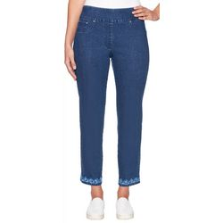 Ruby Road Favorites Petite Embroidered Hem Ankle Jeans