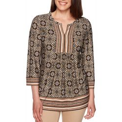 Ruby Road Favorites Petite Geometric Print Tunic Top