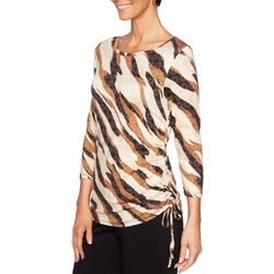 Ruby Road Favorites Petite Zebra Print Ruched Top
