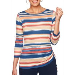 Ruby Road Favorites Petite Multi Striped Ruched Top