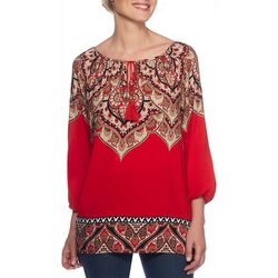 Ruby Road Favorites Petite Damask Print Tassel Top
