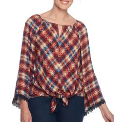Ruby Road Favorites Petite Mixed Chevron Print Tie Front Top