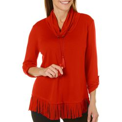 Ruby Road Favorites Petite Solid Fringe Trim Tassel Tie Top