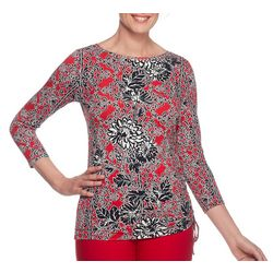 Ruby Road Favorites Petite Embellished Mixed Floral Top