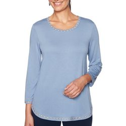 Ruby Road Favorites Petite Solid Embellished Round Neck Top