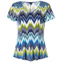 Sami & Jo Petite Chevron Puff Print Short Sleeve Top