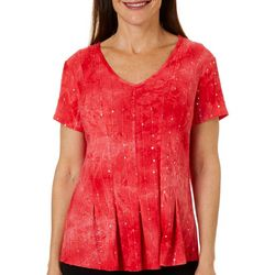 Sami & Jo Petite Pleated Fiesta Short Sleeve Top