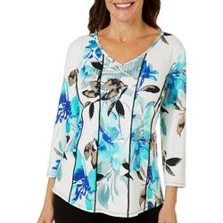 Petite Textured Floral Print V-Neck Top