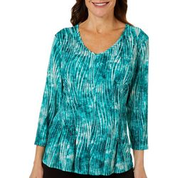 Petite Textured Wave Print Top