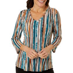 Petite Textured Stripe Print Top