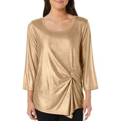 Petite Solid Metallic Twist Front Top