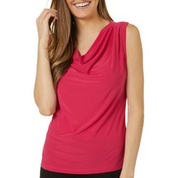 Savannah Blues Petite Solid Drape Neckline Sleeveless Top