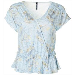 Savannah Blues Petite Floral Paisley Surplice Peplum Top