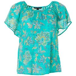 Petite Paisley Butterfly Sleeve Top