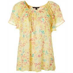 Petite Floral Butterfly Sleeve Top