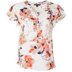 Petite Feminine Floral Ruffle Sleeve Top