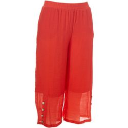 Zac & Rachel Petite Solid Button Side Capris