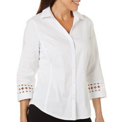 Petite Solid Embellished Sleeve Button Down Top