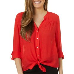 Petite Solid Button Down Tie Front Top