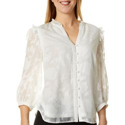 Petite Solid Textured Button Down Top