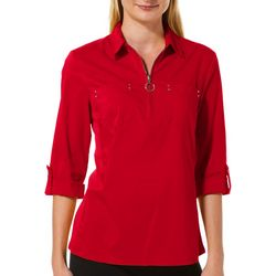 Zac & Rachel Petite Solid Quarter Zip Roll Tab Top
