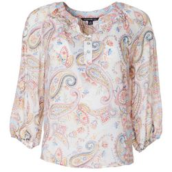 Petite Paisley Print Split Neck Top