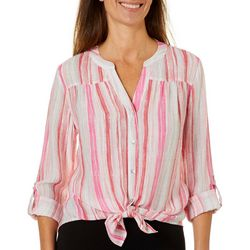 Zac & Rachel Petite Striped Button Down Tie Front Top