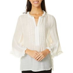 Zac & Rachel Petite Solid Embellished Ruffle Trim Top