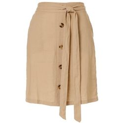 Zac & Rachel Petite Solid Faux Button Linen Skirt